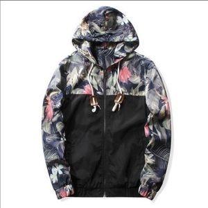 Black & floral windbreaker jacket